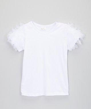 White Ruffle-Sleeve Top - Infant, Toddler & Girls