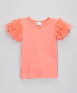 Teal Ruffle-Sleeve Top - Infant, Toddler & Girls