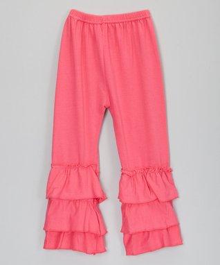 Hot Pink Tiered Ruffle Leggings - Infant, Toddler & Girls