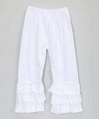 White Tiered Ruffle Leggings - Infant, Toddler & Girls