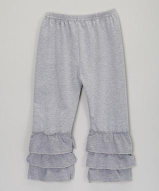 Gray Tiered Ruffle Leggings - Infant, Toddler & Girls