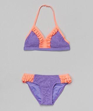 Summer Purple & Orange Crocheted Bikini - Girls