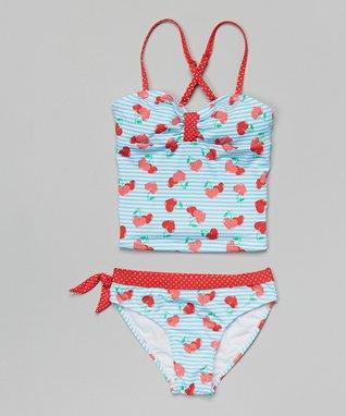 Aqua & Red Cherry Stripe Tankini - Girls