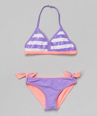 Pink & Purple Stripe Reversible Bikini - Girls