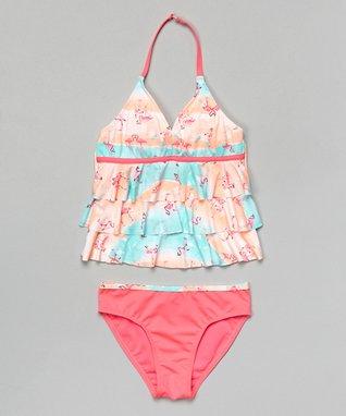 Aqua Flamingo Halter Tankini - Girls