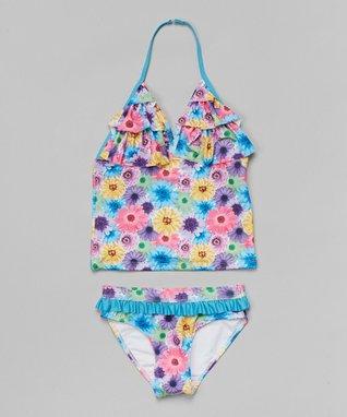 Blue & Pink Floral Tankini - Girls