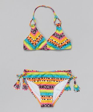 Teal & Orange Tribal Tassel Bikini - Girls