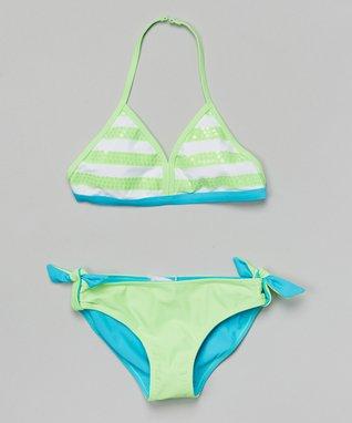 Green & Blue Stripe Reversible Bikini - Girls