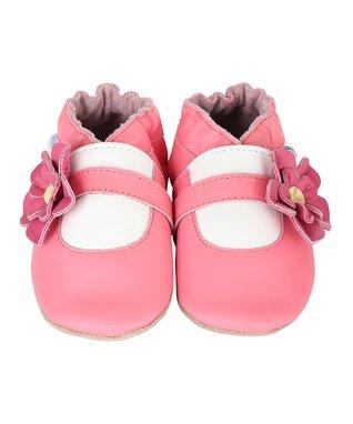 Pink Flower Girl Booties