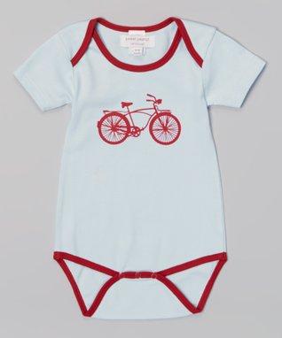 Sweet Peanut Light Blue & Red Bicycle Organic Bodysuit - Infant