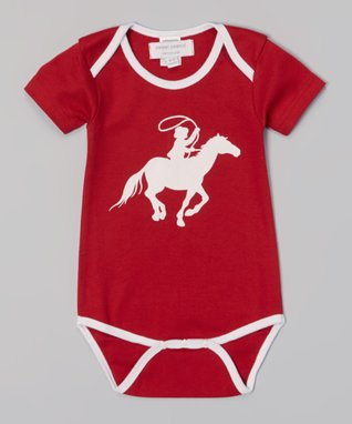 Sweet Peanut Red & White Cowboy Organic Bodysuit - Infant