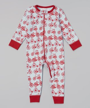 Sweet Peanut Red & Light Blue Bicycle Organic Playsuit - Infant