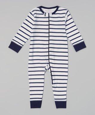 Sweet Peanut Navy & White Stripe Organic Playsuit - Infant