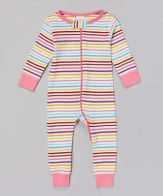 Sweet Peanut Pink & Light Blue Stripe Organic Playsuit - Infant