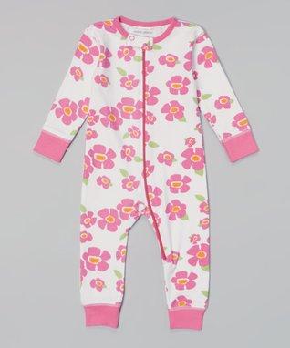 My O Baby Pink Cherry Lattice Organic Playsuit - Infant