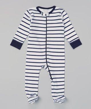 Sweet Peanut Navy & White Stripe Organic Footie - Infant