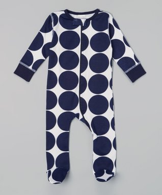 Sweet Peanut Navy Large Dot Organic Footie - Infant