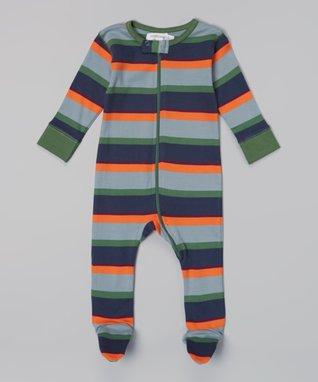 Sweet Peanut Green & Navy Stripe Organic Footie - Infant