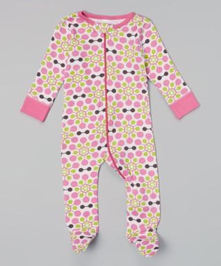 Sweet Peanut Pink & Green Floral Organic Footie - Infant