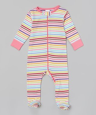 Sweet Peanut Pink & Light Blue Stripe Organic Footie - Infant