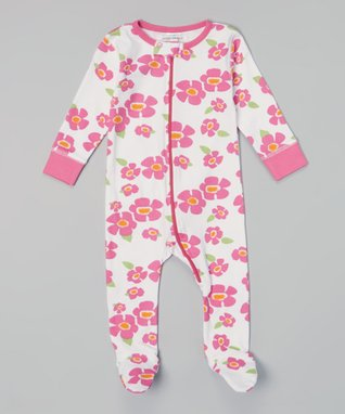 Sweet Peanut Pink & White Spring Flowers Organic Footie - Infant