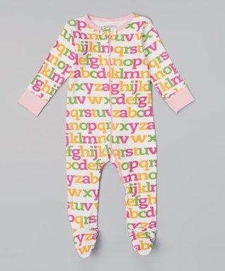 Sweet Peanut Pink Alphabet Organic Footie - Infant