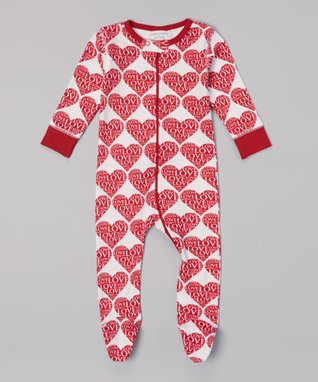Sweet Peanut Red & White Hearts Organic Footie - Infant