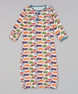 Sweet Peanut Green & Navy Stripe Organic Gown - Infant