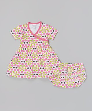 Sweet Peanut Red & White Spring Flowers Organic Gown - Infant