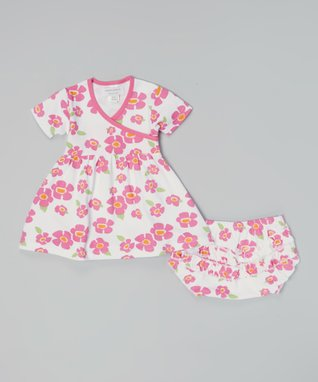 Sweet Peanut Pink & Green Floral Organic Dress & Diaper Cover - Infant
