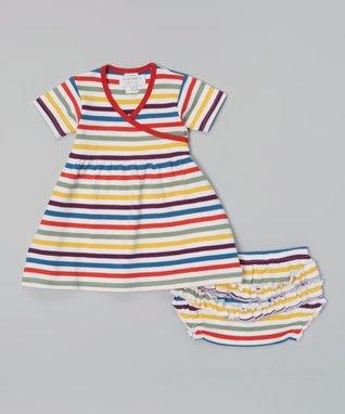 Sweet Peanut Red & Yellow Stripe Organic Dress & Diaper Cover - Infant