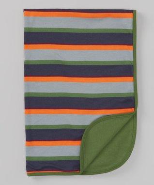 Sweet Peanut Navy & White Stripe Organic Receiving Blanket