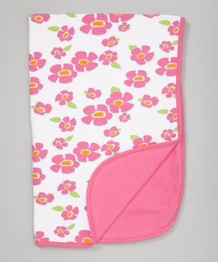 Sweet Peanut Pink & Green Floral Organic Receiving Blanket