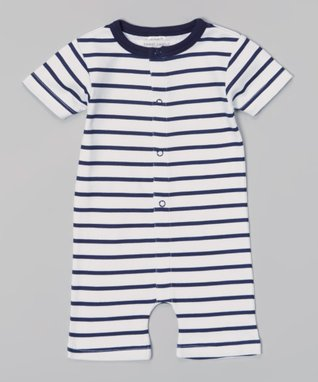 Sweet Peanut Navy & White Stripe Organic Romper - Infant