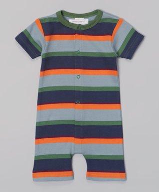 Sweet Peanut Green & Navy Stripe Organic Romper - Infant