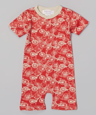 Sweet Peanut Red Bicycle Organic Romper - Infant