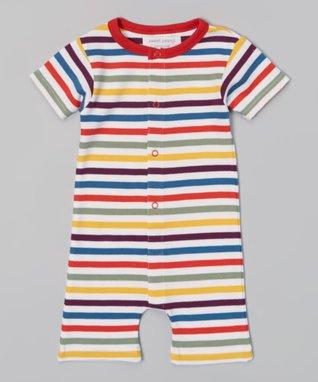 Sweet Peanut Red & Yellow Stripe Organic Romper - Infant