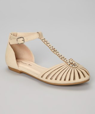 Beige End Studded Ankle-Strap Flat