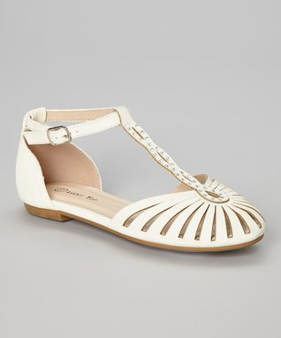 White End Studded Ankle-Strap Flat