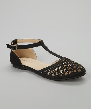 Black Studded Cutout T-Strap D'Orsay