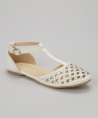 White Studded Cutout T-Strap D'Orsay