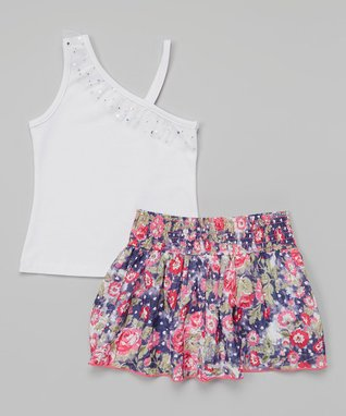 Squeeze White Asymmetrical Top & Navy Floral Scooter Skirt - Girls