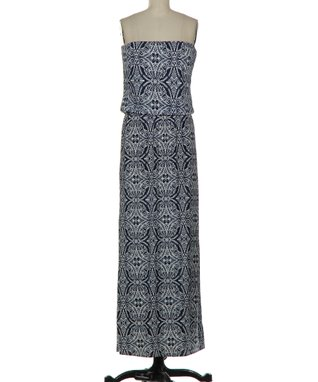 Navy Scarf-Print Strapless Maxi Dress