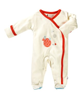 babysoy White & Red Deer Organic Footie - Infant