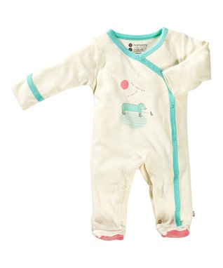 babysoy White & Blue Dog Organic Footie - Infant
