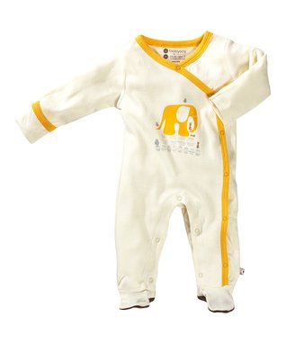 babysoy White & Yellow Elephant Organic Footie - Infant