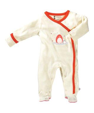 babysoy White & Orange Penguin Organic Footie - Infant
