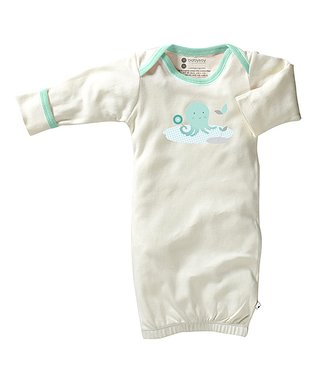 babysoy White & Pink Dog Organic Gown - Infant
