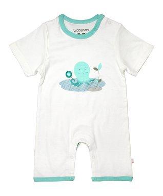 babysoy White & Blue Octopus Organic Romper - Infant