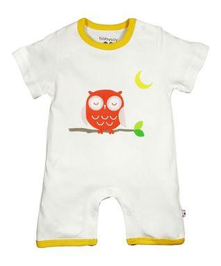 babysoy White & Yellow Owl Organic Romper - Infant